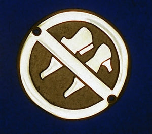 Brass sign - no shoes symbol