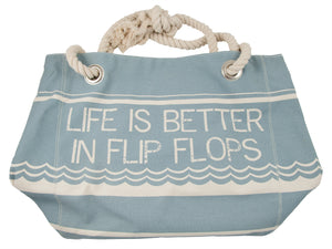 Sea Kisses Beach Bag, strong canvas bag with soft nautical rope handle