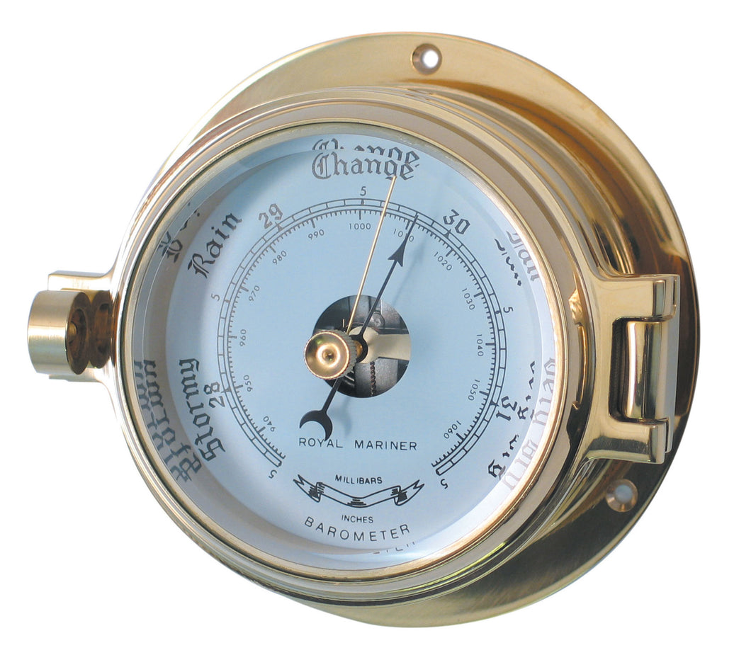 Authentic Nautical Barometer, hinged bezel, quality brass construction