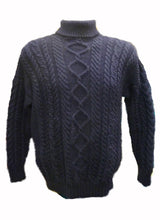 Traditional Aran Jumper, polo neck, made in Guernsey