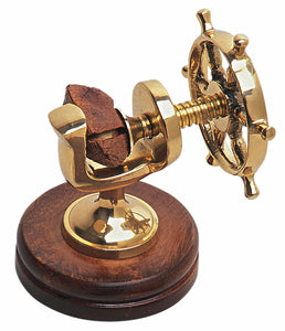 Brass Ship's Wheel nutcracker - nautical gift idea