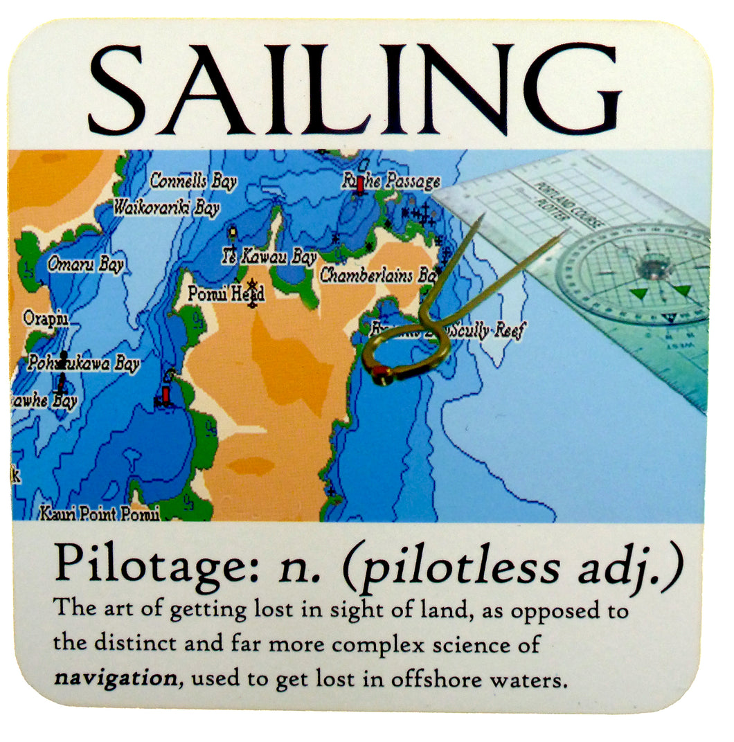 Sailing Coaster, humorous 'Pilotage' definition, ideal gift