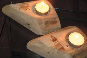Hanah Wood Tea Light Holder with Lighthouse Motif