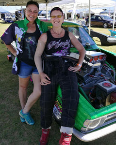 Pictured; Andy with one of her <span>crew girls Wendy, between races.</span>