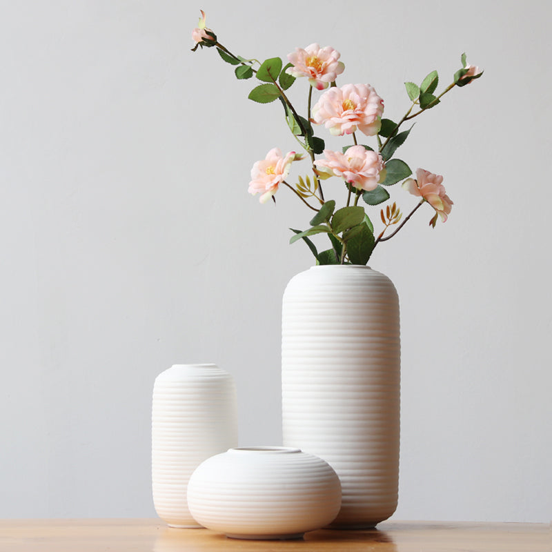 Belly Pots & Minimalist Linear Design White Porcelain Flower Vase - 3pcs