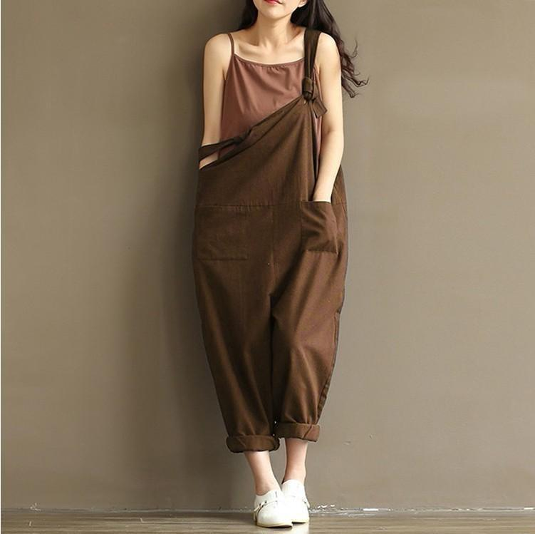Cotton UK Womens Dungarees Loose Jumpsuits Ladies Casual Playsuit Overalls Pants
