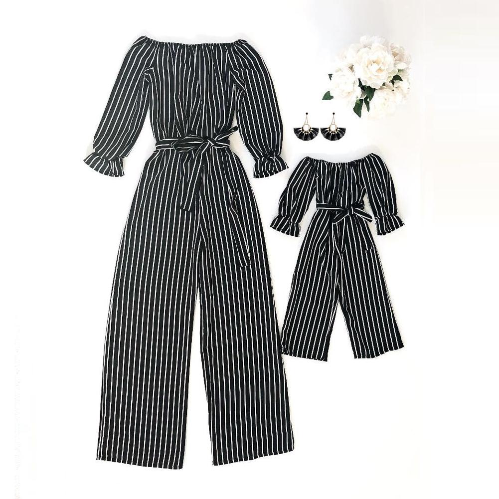 Family Matching Clothes Women Girls Mother /& Daughter Stripe Romper Jumpsuit UK