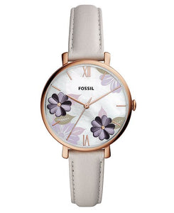 Women's Jacqueline Playful Floral Gray Leather Strap Watch 36mm