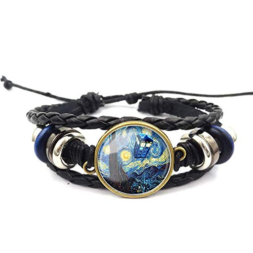 Tardis Doctor Who Starry Night Bracelet Van Gogh Beaded Hand Woven Leather Bracelet Braided Punk Chain Cuff
