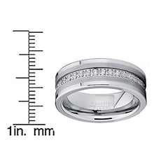 Metal Masters Co. Tungsten Carbide Wedding Band Eternity Ring, Cubic Zirconia Inlay Comfort Fit 8mm