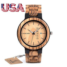 BOBO BIRD Wood Watch Men relogio masculino Week and Date Display!