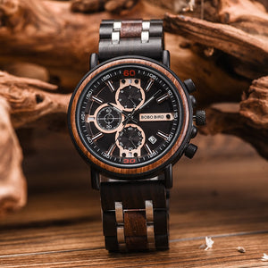 BOBOBIRD 2019 Wooden Watch Men Wristwatches Date Show Luminous Hand Chronograph relogio masculino with Gift Box L S18 1 on AliExpress