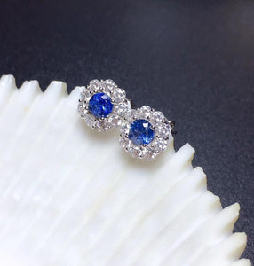 Natural Blue Sapphire Stud Earrings