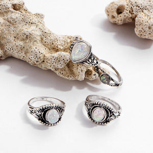 Fantastic 8PC Boho Jewelry Rings Silver Natural Simulated Marquise Moonstone Rings Personalized Ring Sumptuous Ornaments Anillos