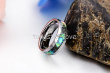 High Quality 8mm Mens Tungsten Ring with Abalone Shell Inlay Band Rings Beveled Edge Comfort Fit Design Mens Jewelry