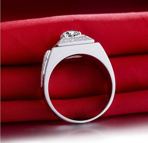 Luxury  Excellent Cut 1CT Diamond Men's Wedding Anniversary Engagement Genuine Pure Silver With White Gold Cover Ring