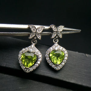 Natural Green Olivine Heart Stud Earrings 925 Sterling Silver
