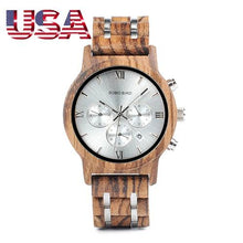 BOBO BIRD Wooden Quartz Watches Date Display Business Watch Man Ebony & Zebrawood Options