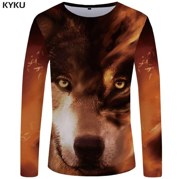 Wolf T shirt Men Long sleeve Anime Fashion Man Slim Fit Tee