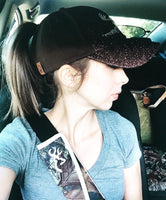 Glitter Ponytail Hat - Brown
