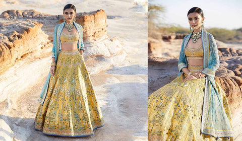 Anita Dongre Yellow And Turquoise