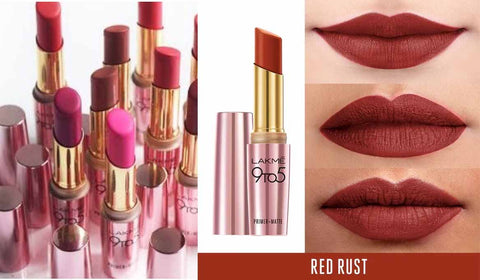 Lipstick Lakme, Fall Lip Shade, Red Rust, Red Lip Shade, 9 to 5, Fall Make-Up