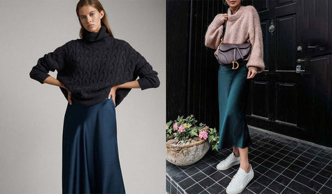 Sweaters For Ladies Paired With Satin Dress