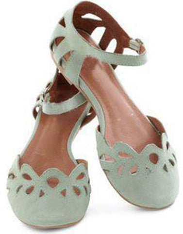 Sage Green Cutwork Flats