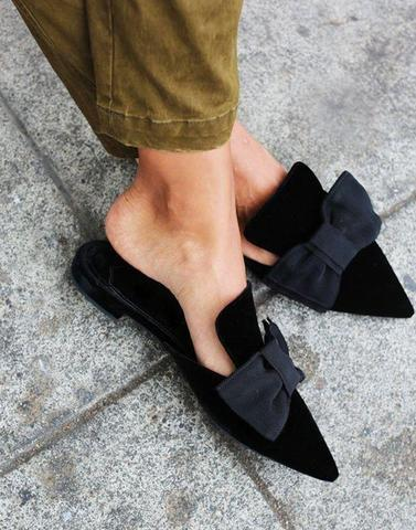 Black Bow Mules Flat