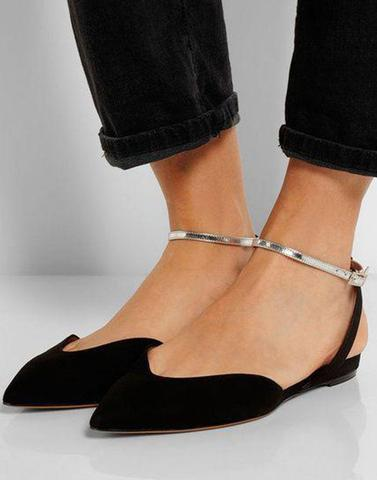 Shiny Ankel Black Flats