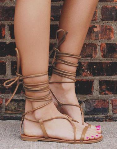 Choco Brown Lace up Flats
