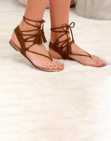 Basic Brown Tied Up Flats