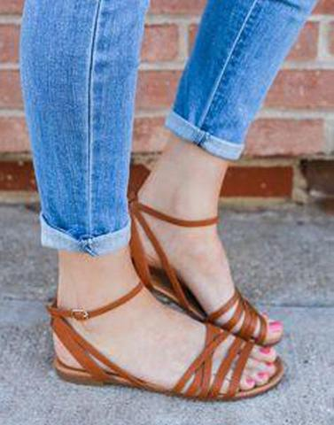 Brown Tiny Buckle Flats