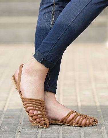 Sling Back Caged Flats