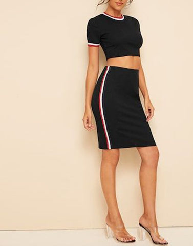 Cropped To Chic Black Pair Set