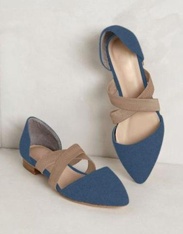Blue Cross Strap Flats