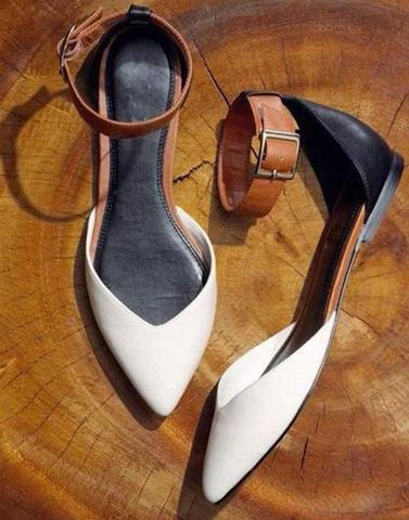 White Brown Work Flats