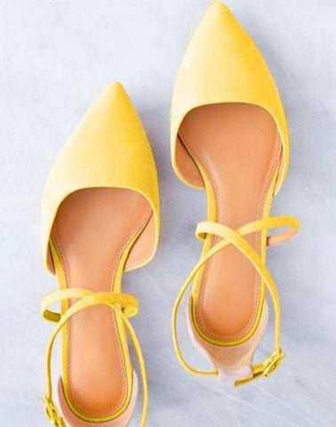 Yellow Pointed Cross Strap Flats