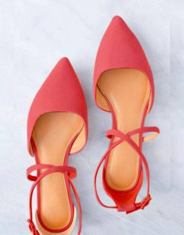 Red Pointed Cross Strap Flats