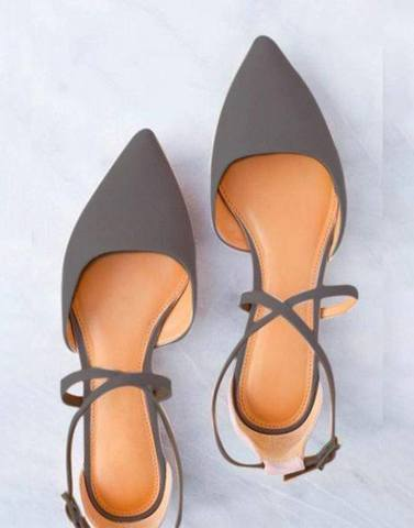 Grey Pointed Cross Strap Flats