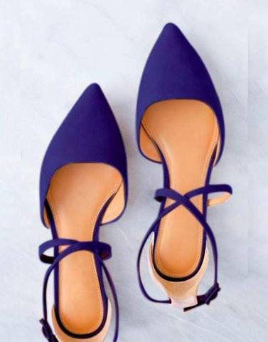 Blue Pointed Cross Strap Flats