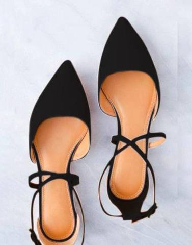 Black Pointed Cross Strap Flats