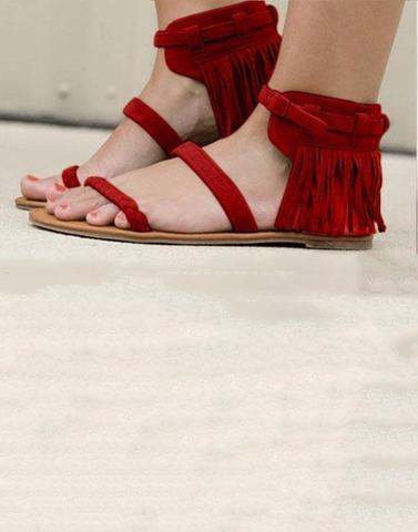 Red Fringes Strappy Flats
