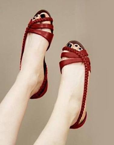 Leathery Red Strap Flats
