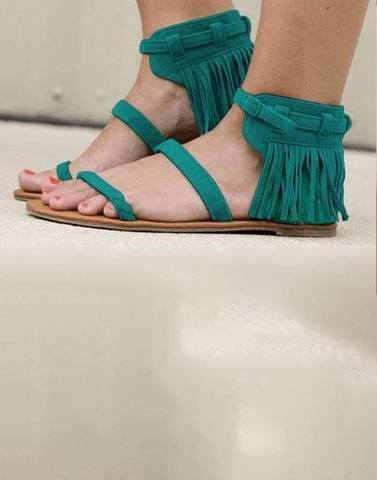 Green Fringes Strappy Flats