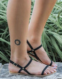 Black Tiny Buckle Flats
