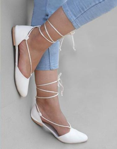 White lace Up belly Flats