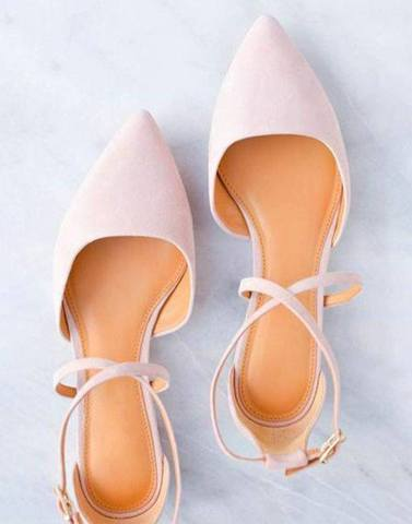 Chic Pink Cross Strap Flats