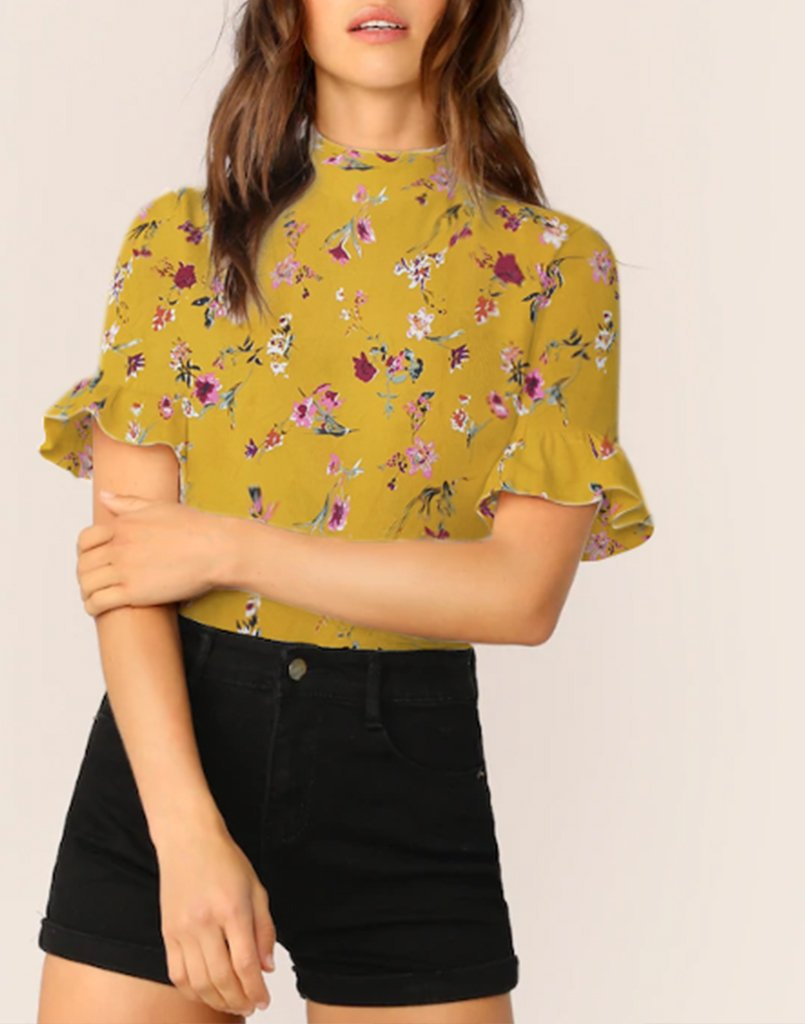Bloom Up Floral Mustard Top