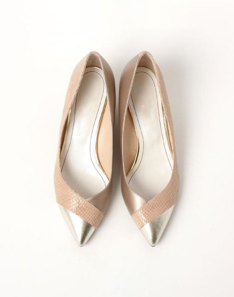 Leather Rose Gold Textured Ballerinas